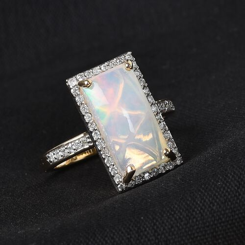 Limited Edition - 9K Yellow Gold AAA Ethiopian Welo Opal (Bgt 14x7) and Diamond Ring 2.75 Ct.