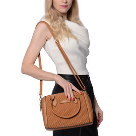 LOCK SOUL Tan Colour Corn Grain Textured Satchel Bag with Detachable Shoulder Strap (Size 28x15x21 C