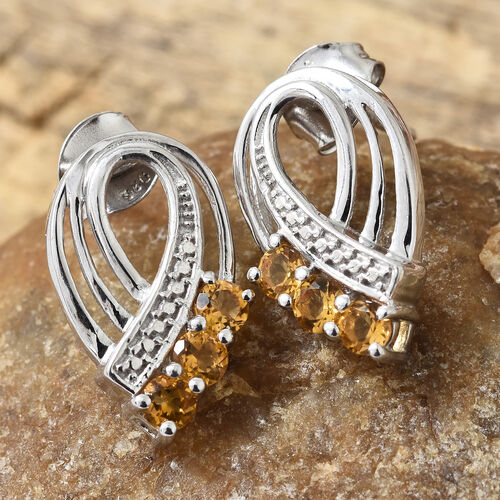 Brazilian Citrine (Rnd) Earrings ( With Push Back) in Platinum Overlay Sterling Silver 0.750  Ct.