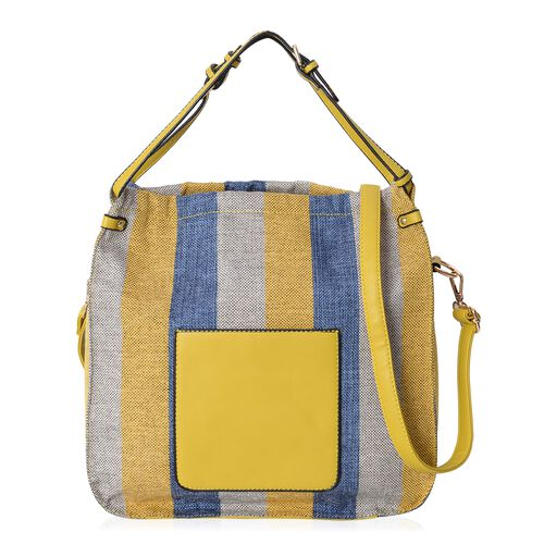 Scarlett Water Resistant Mustard and Blue Stripe Tote Bag with Removable Shoulder Strap (Size 34.5x34x12 Cm)