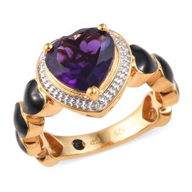 GP 2.25 Ct African Amethyst and Blue Sapphire Enamelled Heart Ring in 14K Gold Plated Silver