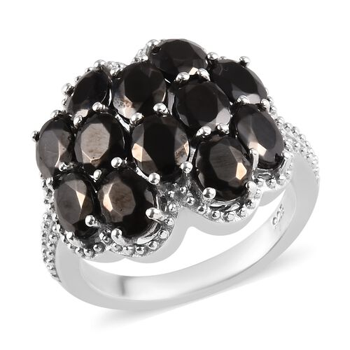 2.50 Ct Elite Shungite Cluster Ring in Platinum Plated Sterling Silver
