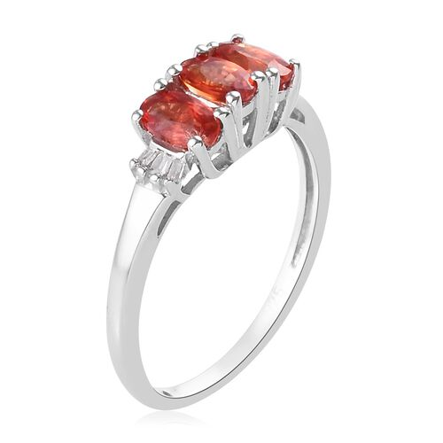 Sunset Sapphire and Diamond Ring in Platinum Overlay Sterling Silver 1.00 Ct.