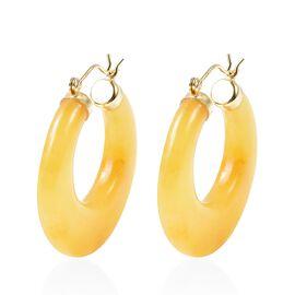 Honey Jade Hoop Earrings in Yellow Gold Overlay Sterling Silver 58.00 Ct.