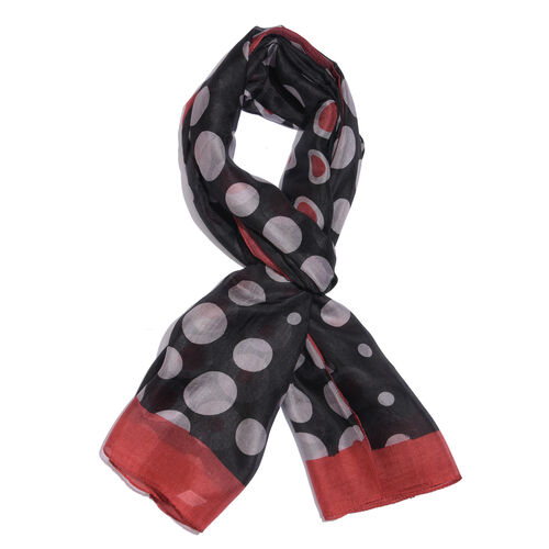 100% Mulberry Silk Red and White Dotted Swiss Printed Black Colour Scarf (Size 180x100 Cm)