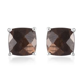 Zawadi Golden Sheen Sapphire Stud Earrings (with Push Back) in Sterling Silver 4.25 Ct.
