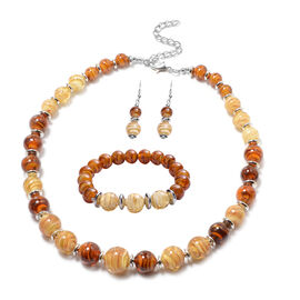3 Piece Set - Brown and Champagne Murano Beads Hook Earrings, Necklace(Size 23 with Extender) and Br