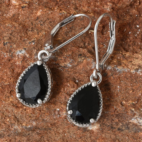 Black Tourmaline (Pear) Lever Back Earrings in Platinum Overlay Sterling Silver 3.500 Ct.