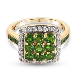 Russian Diopside and Natural Cambodian Zircon Cluster Ring in 14K Gold Overlay Sterling Silver 1.80