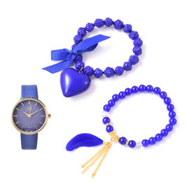 3 Piece Set - STRADA Japanese Movement Watch with Blue Strap, Simulated Blue Agate, White Austrian C