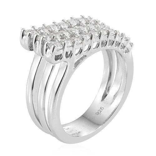 J Francis - Platinum Overlay Sterling Silver (Rnd) Multipe Layer Ring Made with SWAROVSKI ZIRCONIA, Silver wt 5.38 Gms