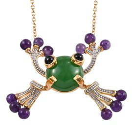 GP Green Jade (Rnd), Amethyst, Boi Ploi Black Spinel and Blue Sapphire Frog Pendant With Chain (Size