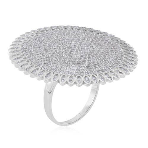 Designer Inspired-ELANZA Simulated White Diamond (Rnd) Cluster Ring in Rhodium Plated Sterling Silver