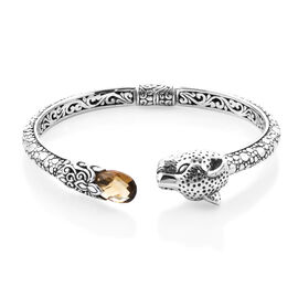 Royal Bali Collection - Citrine Leopard Bangle in Sterling Silver 3.37 Ct, Silver wt 26.00 Gms