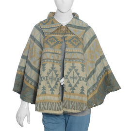 Designer Inspired Beige and Multi Colour Geometrical Woven Pattern Jacket Size 115x65 Cm