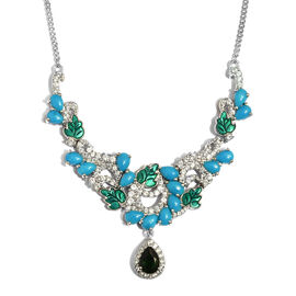GP 8.5 Ct Arizona Sleeping Beauty Turquoise and Multi Gemstone Statement Necklace in Sterling Silver