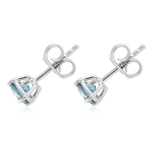 Blue Zircon (1.45 Ct) 9K W Gold Earrings (with Push Back) 1.450 Ct
