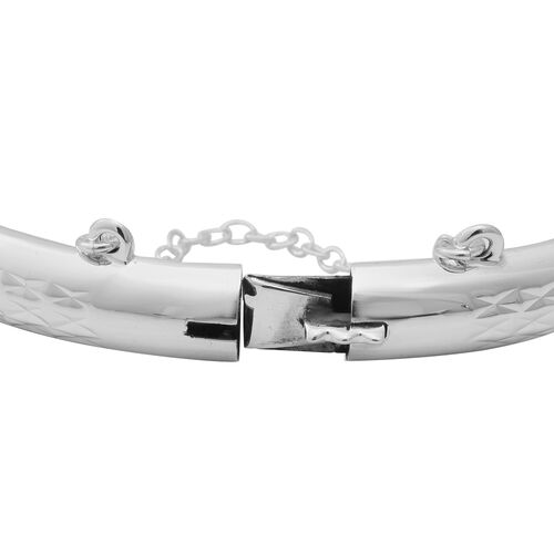One Time Close Out Deal- Sterling Silver Diamond Cut Bangle (Size 7.5), Silver wt 15.64 Gms