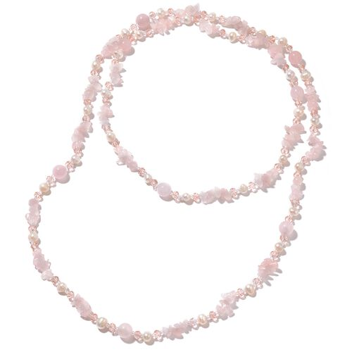 Fresh Water White Pearl, Rose Quartz, Simulated Pink and White Topaz Necklace (Size 48) 320.000 Ct.