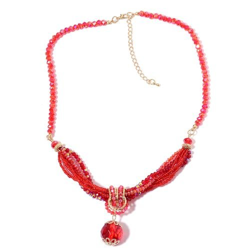 Simulated Ruby Multi Strand Necklace (Size 20 with 3 inch Extender) in Yellow Gold Tone