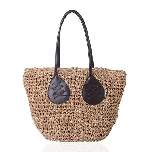 Light Coffee and Beige Colour Woven Pattern Tote Bag (Size 47x30x27x17 Cm)