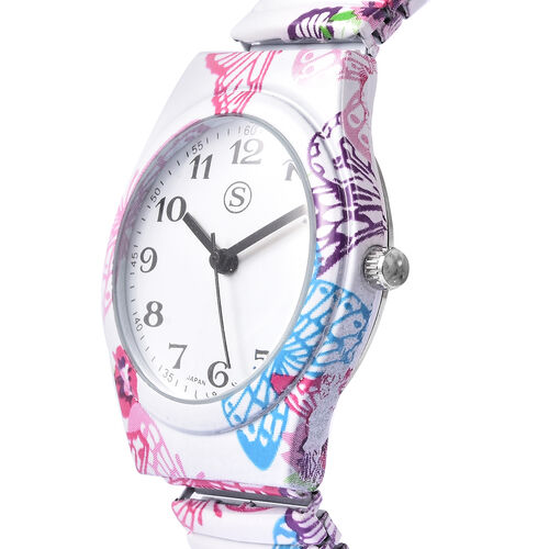 STRADA Japanese Movement Butterfly Pattern Water Resistant Watch with Stretchable Strap (Size 6.5-7)