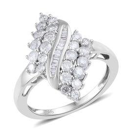 9K White Gold SGL Certified Diamond (Rnd and Bgt) (I2-I3/G-H) Ring 1.000 Ct.