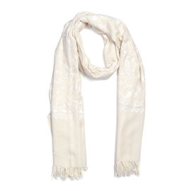 100% Merino Wool Embroidery Cream Colour Scarf (Size 200x70 Cm)
