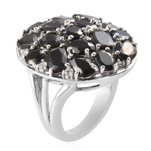 Elite Shungite and Natural Cambodian Zircon Cluster Ring in Platinum Overlay Sterling Silver 5.16 Ct, Silver wt 7.00 Gms