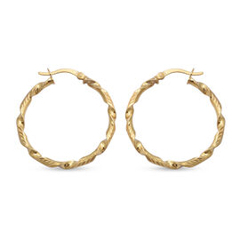 One TIme Close Out Deal-Italian Made - Yellow Gold Overlay Sterling Silver Twisted Hoop Earrings (wi