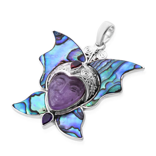 Sajen Silver - Abalone Shell, Amethyst and Red Garnet Handcarved Devi Danu Pendant in Sterling Silver 15.23 Ct, Silver wt. 12.57 Gms