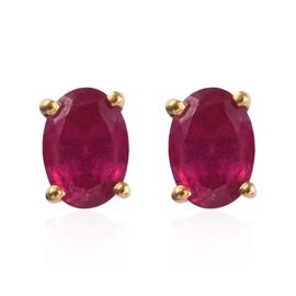 AA African Ruby (Ovl) Stud Earrings (with Push Back) in 14K Gold Overlay Sterling Silver 2.250 Ct.