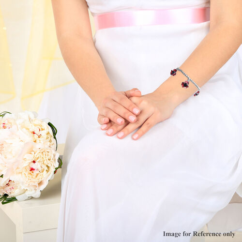 TJC Poppy Design - Black Austrian Crystal Enamelled Station Poppy  Bracelet (Size 6.5) in Silver Tone