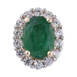 1.05 Ct Kagem Zambian Emerald and Cambodian Zircon Halo Pendant in 9K Gold
