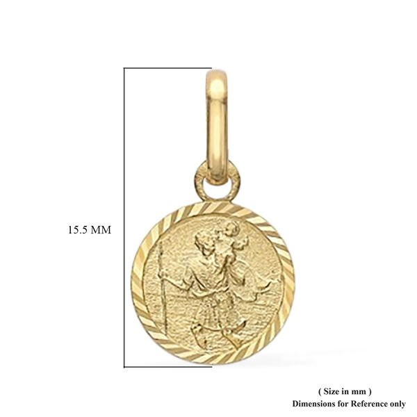 Diamond Cut Round St Christopher Pendant in 9K Yellow Gold(outer size 8mm)