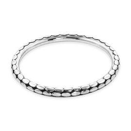 Royal Bali Collection - Sterling Silver Flat Dot Motif Bangle (Size 8), Silver wt 23.00 Gms