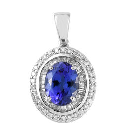 RHAPSODY 950 Platinum AAAA Tanzanite (Ovl 2.45 Ct), Diamond (VS/E-F) Pendant 2.850 Ct.
