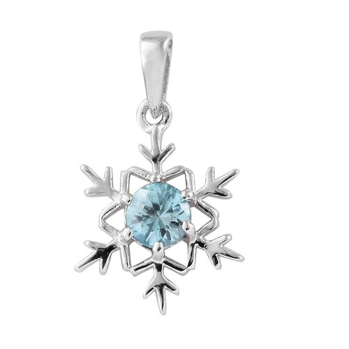 Blue Zircon (Rnd) Snowflake Pendant in Platinum Overlay Sterling Silver