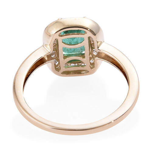 9K Yellow Gold AA Kagem Zambian Emerald (Oct 7x5 mm), Diamond Ring 1.150 Ct.