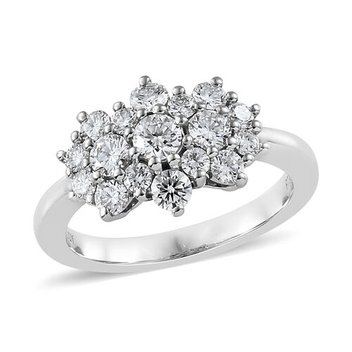 RHAPSODY 950 Platinum IGI Certified Diamond (Rnd) (VS/E-F) Cluster Band Ring 1.000 Ct., Platinum wt 5.50 Gms.