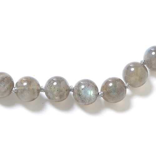 One Time Deal- Pauls Island Labradorite (Rnd) Beads Necklace (Size 20) in Rhodium Overlay Sterling Silver with Magnetic Lock.Total Wt 202.00 Cts