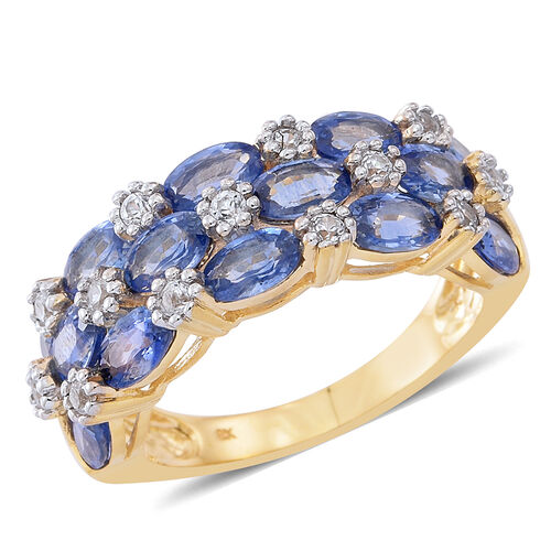 9K Yellow Gold AA Ceylon Blue Sapphire (Ovl), Natural White Cambodian Zircon Ring 4.000 Ct.