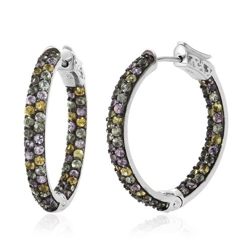 Multi Sapphire (Rnd) Hoop Earrings in Platinum Overlay Sterling Silver 4.000 Ct. Silver wt. 8.24 Gms