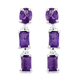 Amethyst (Ovl) Dangle Earrings (with Push Back) in Sterling Silver 1.750 Ct.