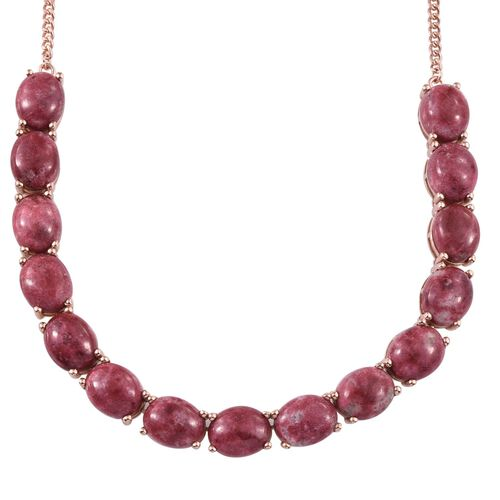 Norwegian Thulite (Ovl) Necklace (Size 18) in Rose Gold Overlay Sterling Silver 45.000 Ct. Silver wt 14.29 Gms.