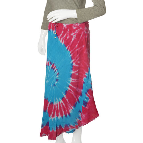 Designer Inspired- Blue and Multi Colour Tie and Dye skirt (Free Size)