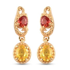Yellow Sapphire, Red Sapphire Earring in 14K Gold Overlay Sterling Silver 1.30 ct