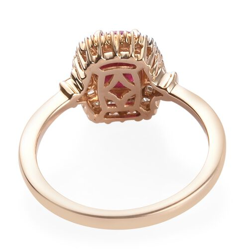 Collectors Edition- 9K Yellow Gold Cushion Cut AAA Burmese Ruby and Natural Diamond (I3) Ring 1.20 Ct.