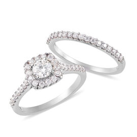 2 Piece Set -  Moissanite Cluster Ring and Band Ring in Platinum Overlay Sterling Silver 0.58 ct  0.