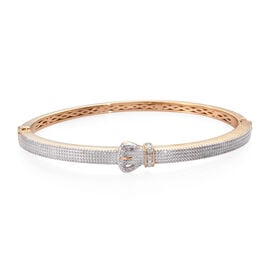 Designer Inspired- Diamond Buckle Bangle (Size 7.5) in Yellow Gold and Platinum Plated